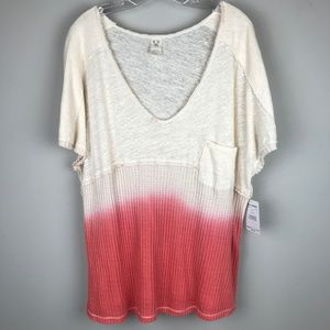 NEW We The Free Sun Dial Coral Ombre Tee Shirt S